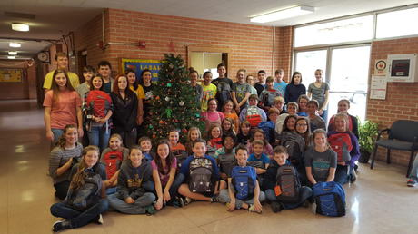 Students filled 30 backpacks for foster kids.